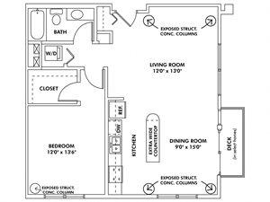 X - 1 Bedroom Apartment