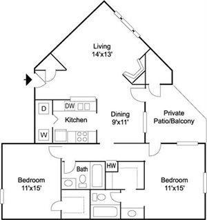 Windsor  2BR 2BA 1055 sq ft