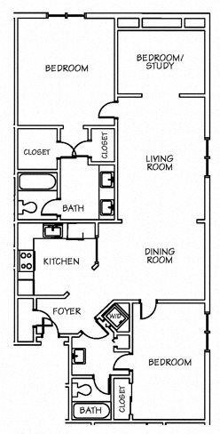 2 Bedroom with Study