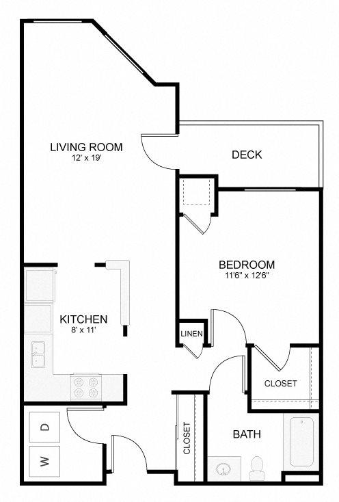1 Bedroom 1 Bath B Floor Plan 3