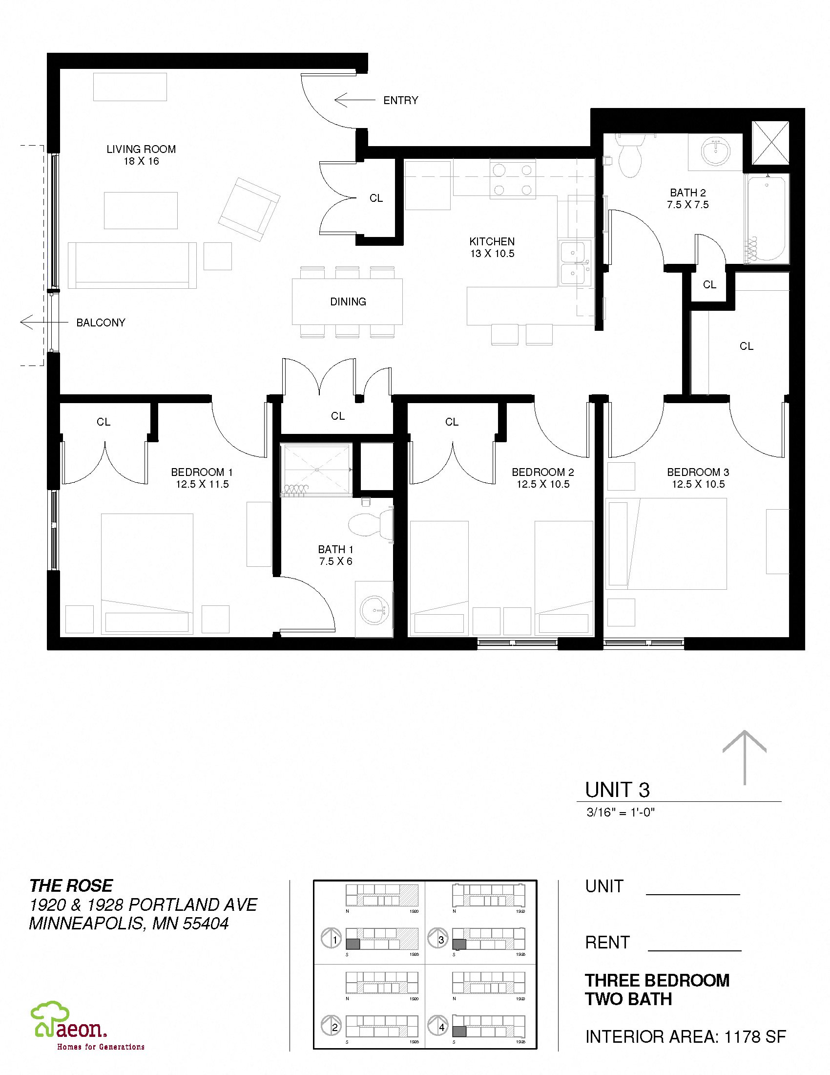 The Hawthorne - 3 Bedroom Apartment Floor Plan