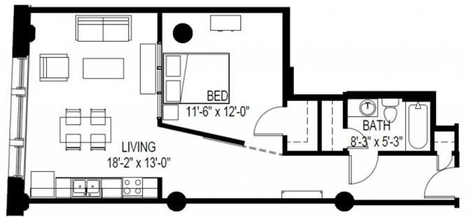 1 Bed Floor Plan 2
