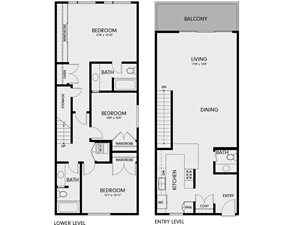 Three Bedroom/Two Bath Townhome