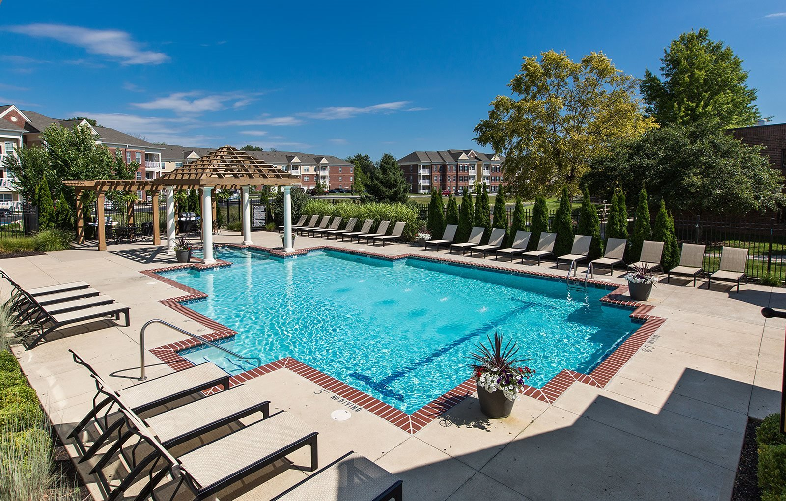 Large Outdoor Pool and Sundeck Areas at Alexandria of Carmel Apartments, Carmel, IN, 46032