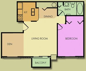 The Maple 1 Bedroom 1 Bath With Den