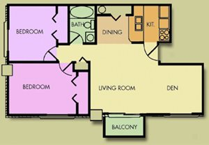 The Evergreen 2 Bedroom 1 Bath With Den