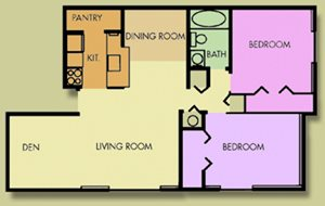 The Hawthorne 2 Bedroom 1 Bath With Den
