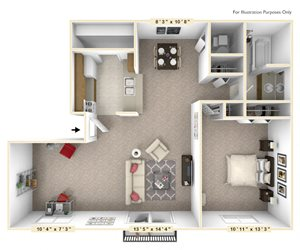 The Willow 1 Bedroom 1 Bath With Den