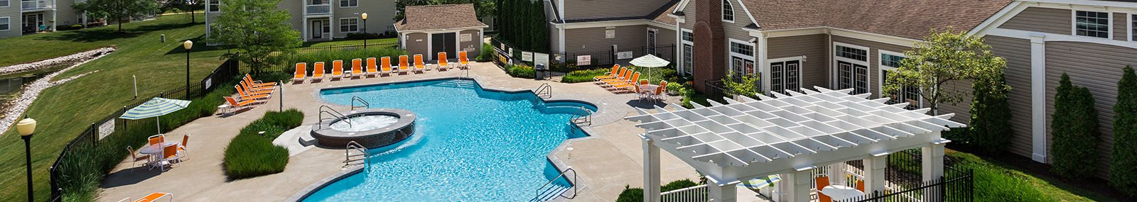 Outdoor Aquatic Spa with Cascading Waterfall at Latitudes Apartments, Indianapolis, Indiana