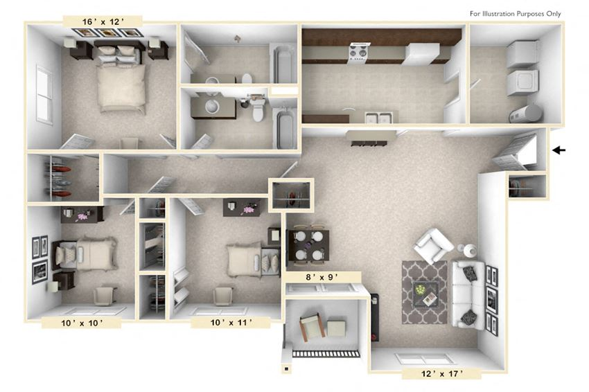 The Belgian - 3 BR 2 BA Floor Plan at Polo Run Apartments, Greenwood, 46142