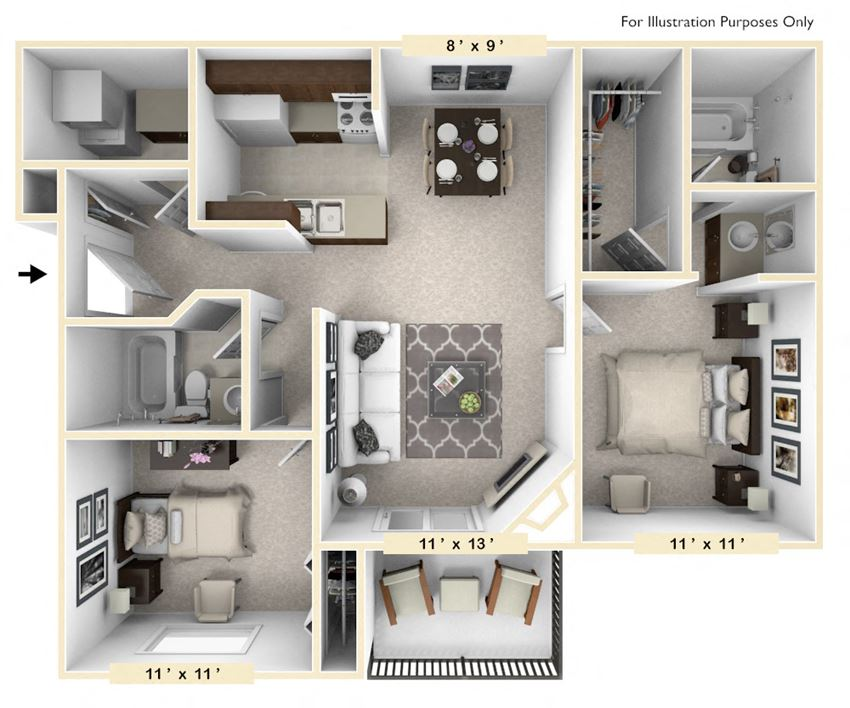 The Clydesdale - 2 BR 2 BA Floor Plan at Polo Run Apartments, Greenwood, Indiana