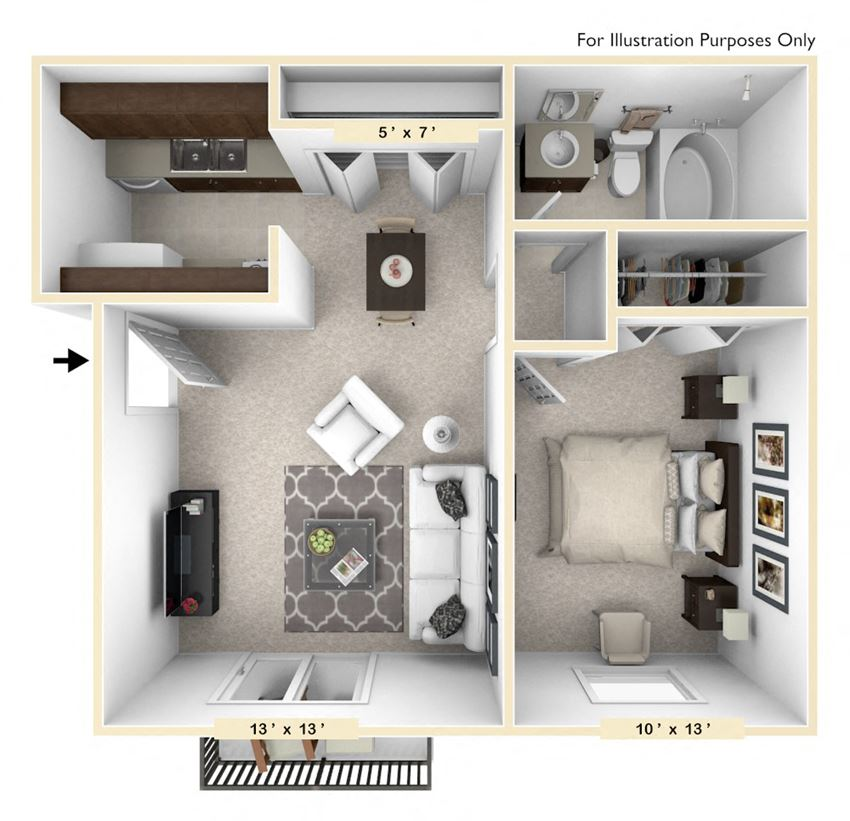 The Palomino - 1 BR 1 BA Floor Plan at Polo Run Apartments, Greenwood, IN, 46142