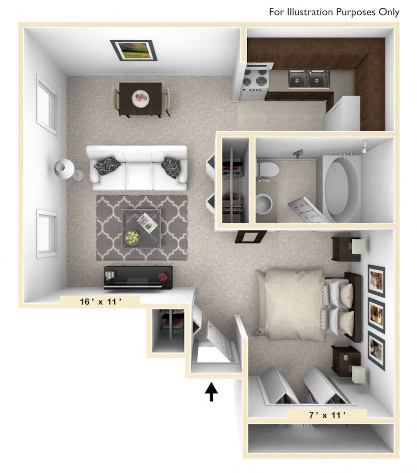 The Shetland Studio Floor Plan at Polo Run Apartments, Greenwood, IN