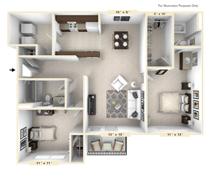 The Shire - 2 BR 2 BA Floor Plan at Polo Run Apartments, Greenwood, 46142