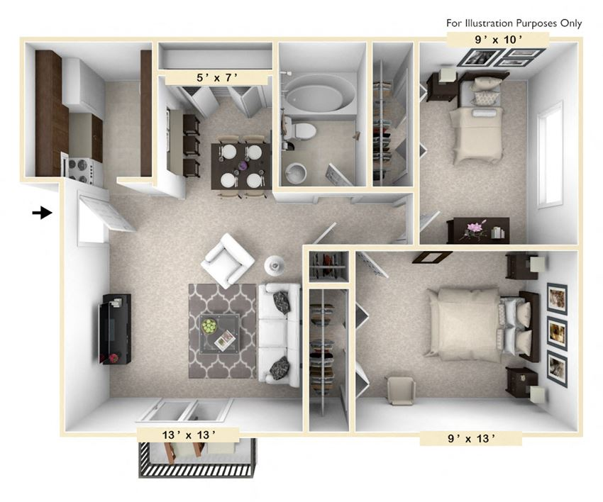 The Thoroughbred - 2 BR 1 BA Floor Plan at Polo Run Apartments, Indiana