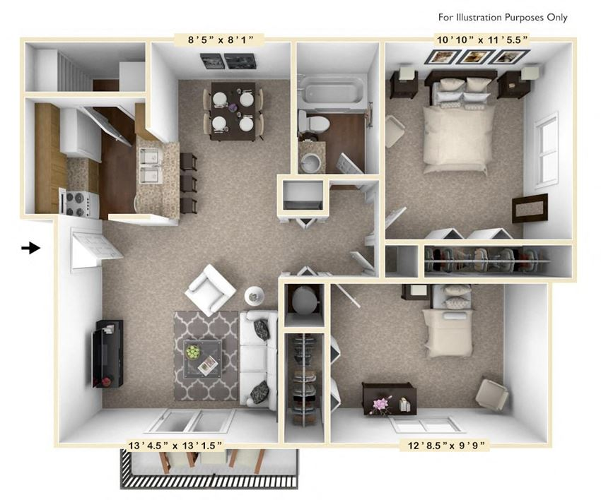 The Birch - 2 BR 1 BA Floor Plan at The Timbers Apartments, Evansville, 47715