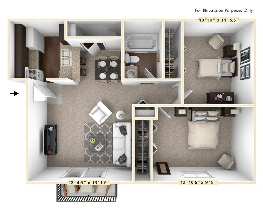 The Mahogany - 2 BR 1 BA Floor Plan at The Timbers Apartments, Evansville, IN