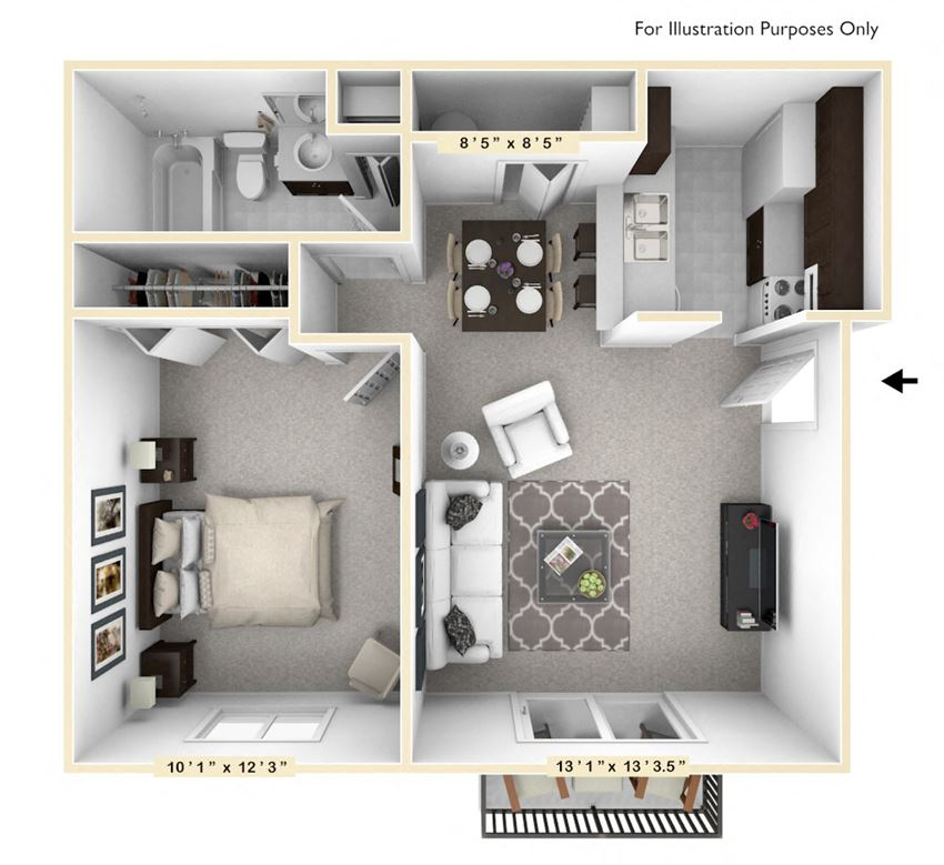 The Oak - 1 BR 1 BA Floor Plan at The Timbers Apartments, Indiana, 47715