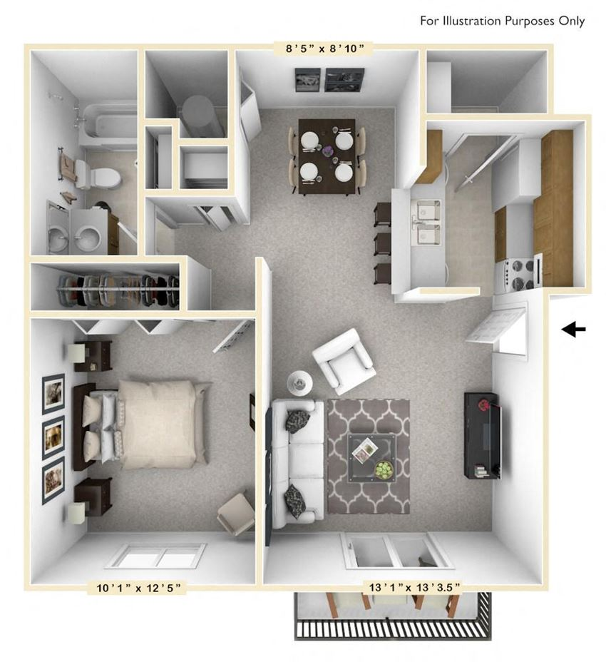 The Walnut - 1 BR 1 BA Floor Plan at The Timbers Apartments, Evansville, IN, 47715