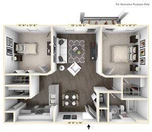 The Veneto - 2 BR 1 BA with Study