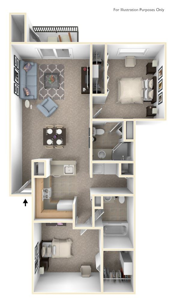 Two Bedroom Two Bath Floor Plan at Arbor Lakes Apartments, Elkhart, 46516