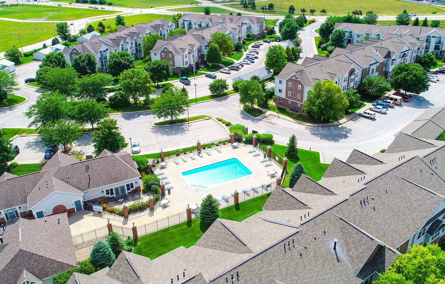 Aerial View of Apartments and Pool at Brentwood Park Apartments, NE 68128