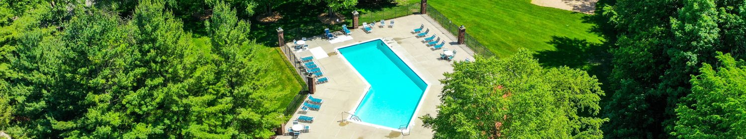 Aerial View of Pool at Byron Lakes Apartments, Michigan