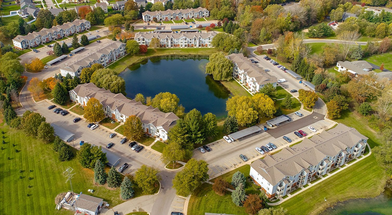 Aerial View of Property at Byron Lakes Apartments, Michigan
