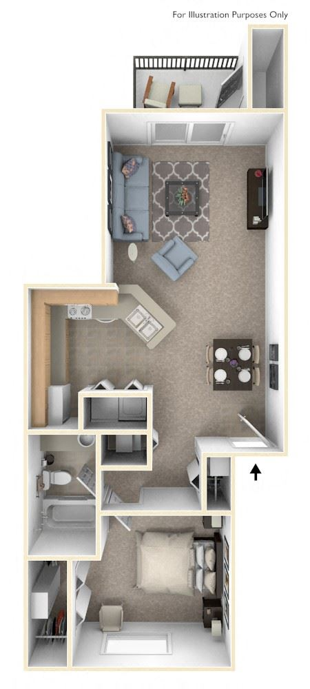 One Bedroom One Bath Floorplan at Dupont Lakes Apartments, Fort Wayne, IN