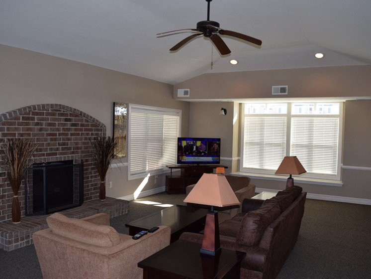 Community Clubhouse with Fireplace at Fieldstream Apartment Homes, Ankeny, IA