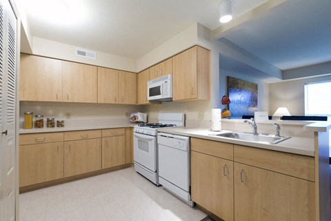 Fully Equipped Kitchen with Ample Storage at Fieldstream Apartment Homes, Iowa, 50023