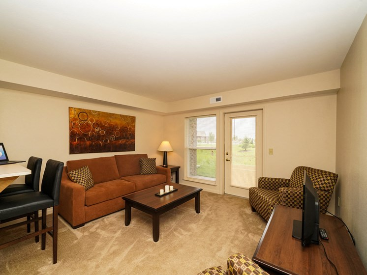 Carpeted Living Spaces at Fieldstream Apartment Homes, Ankeny, IA, 50023