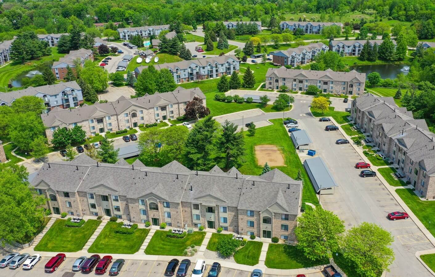 Aerial View of Community at Green Ridge Apartments, Grand Rapids