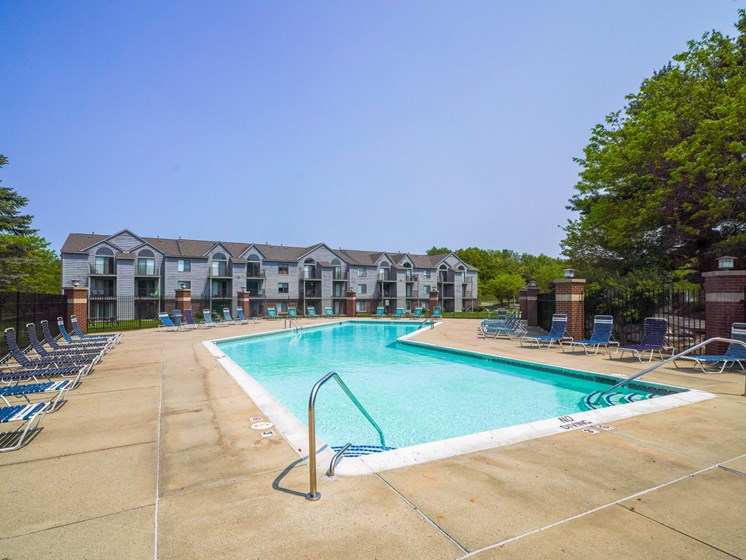 Outdoor Swimming Pool and Sundeck at Green Ridge Apartments, Grand Rapids, MI