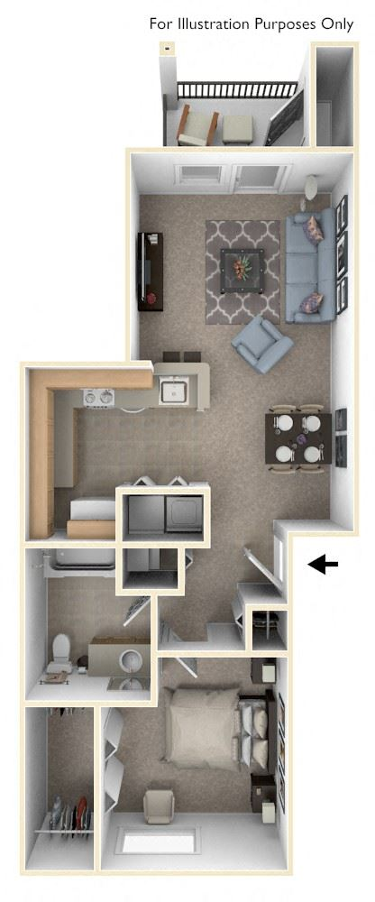 One Bedroom One Bath Floorplan at Hunters Pond Apartment Homes, Champaign, IL, 61820