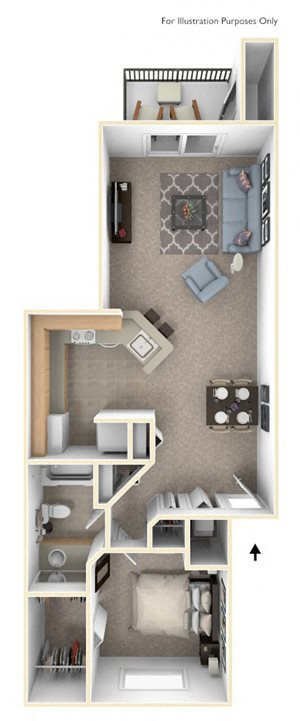 Front-to-Back One Bedroom
