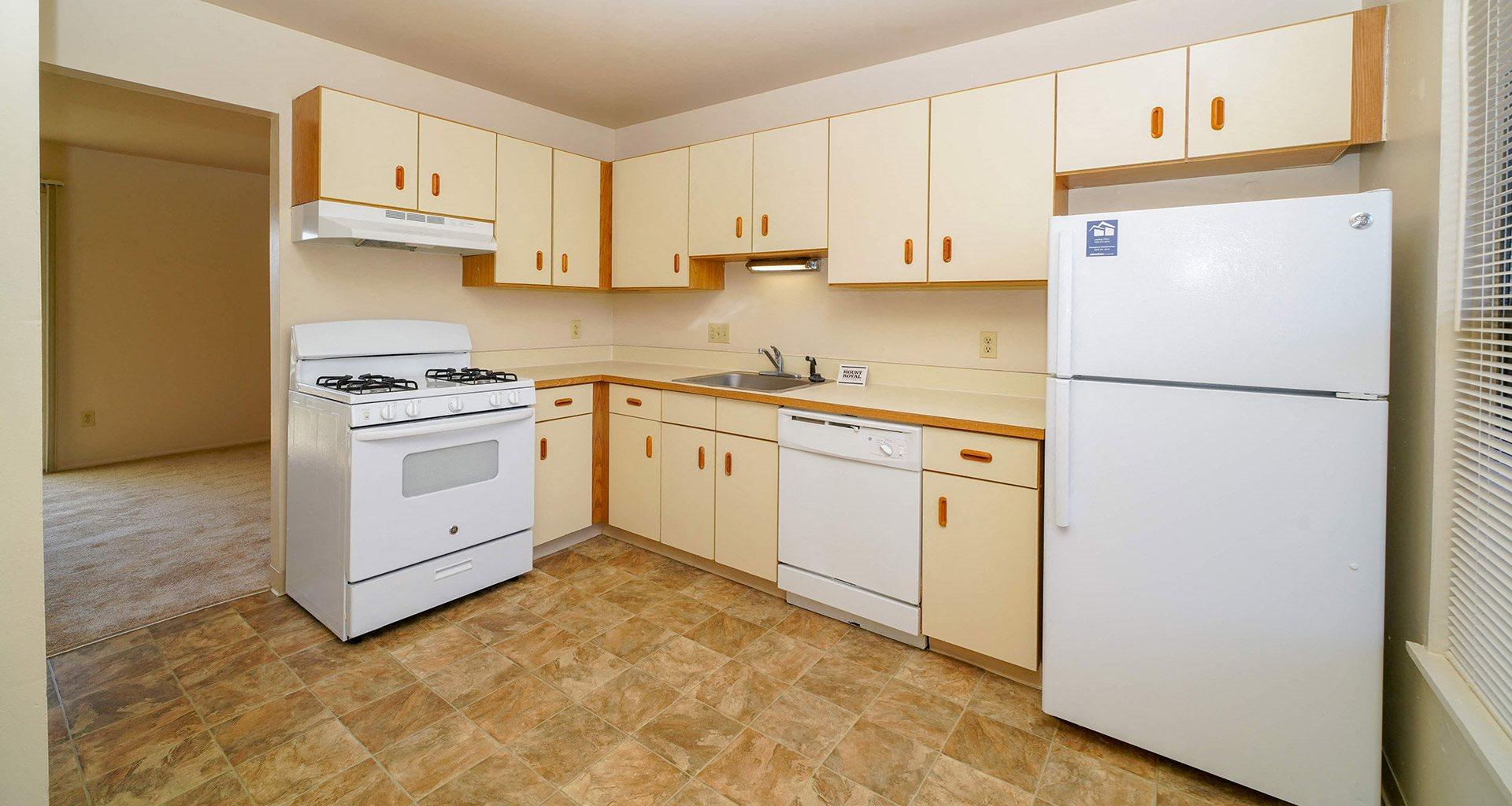 White Appliances in Kitchen at Mount Royal Townhomes, Kalamazoo, MI