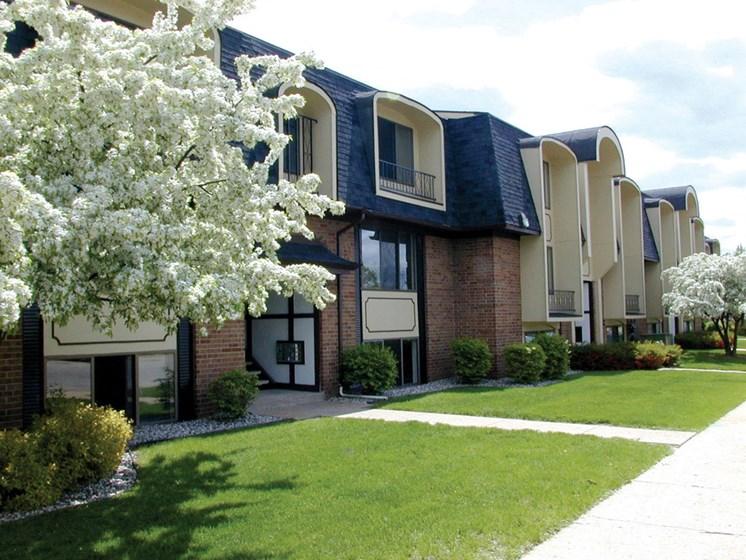 Walkway to Apartments at Seville Apartments, Michigan