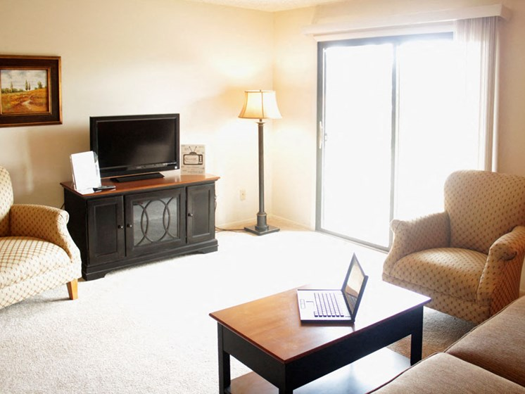 Living Room with Access to Balcony at Seville Apartments, Kalamazoo, 49009