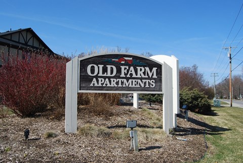 Property Entrance Sign at Old Farm Apartments, Indiana