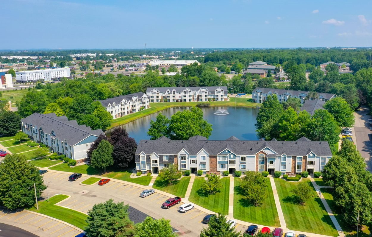 Drone Exterior View at Windmill Lakes Apartments, Holland, MI, 49424