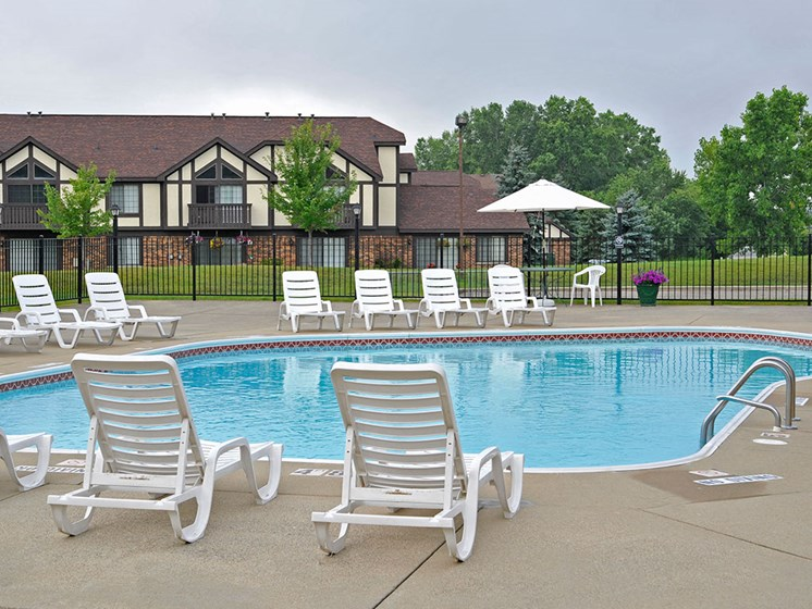 Poolside Chairs at Thornridge Apartments, Grand Blanc, 48439