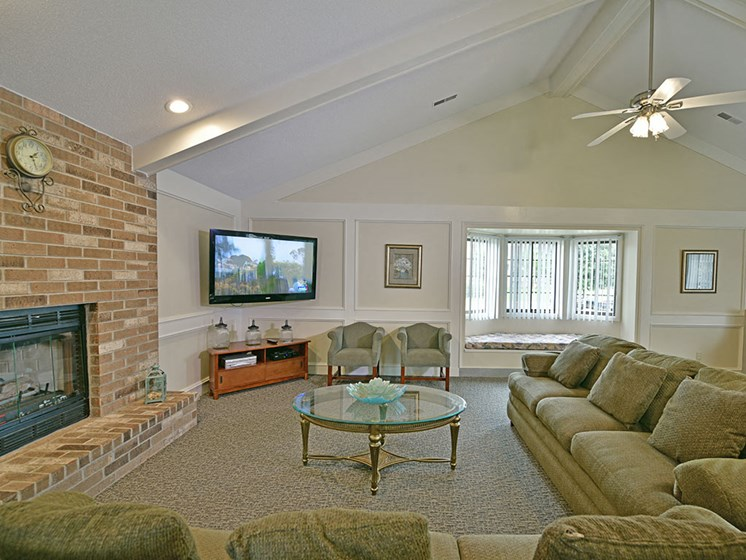Clubhouse Fireplace Seating at Tanglewood Apartments, Oak Creek