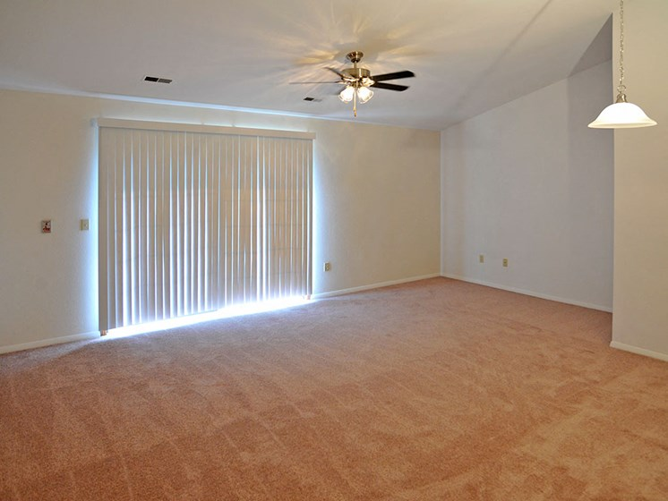 Living Room with Ceiling Fan at Tanglewood Apartments, Oak Creek, 53154