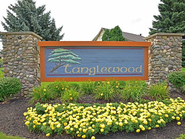 Entrance Garden at Tanglewood Apartments, Oak Creek