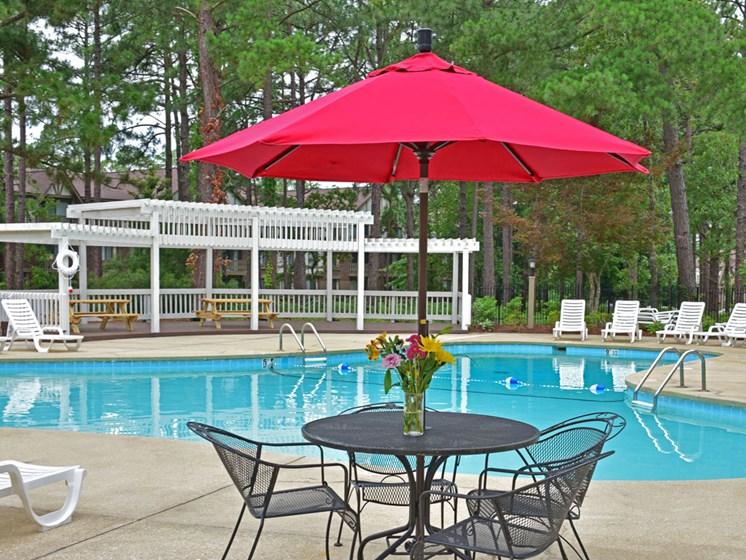 Poolside Sitting Areas at Lake in the Pines, Fayetteville, North Carolina