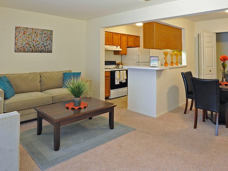 Living Room, Kitchen and Dining Area at LakePointe Apartments, Ohio, 45103