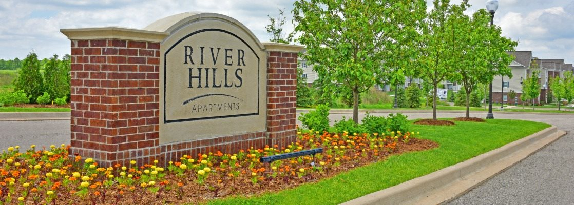 Entrance Sign at River Hills Apartments, Fond du Lac, WI