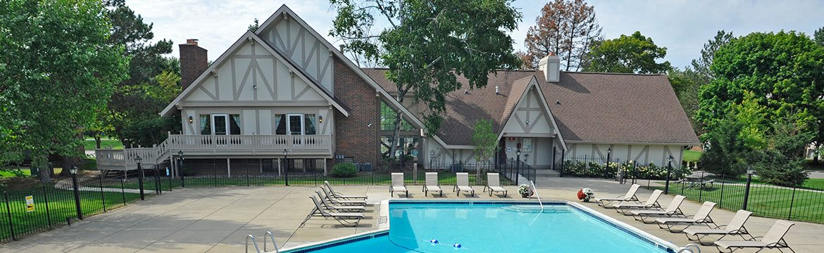 Pool Access via Clubhouse at Rivers Edge Apartments, Waterford, Michigan