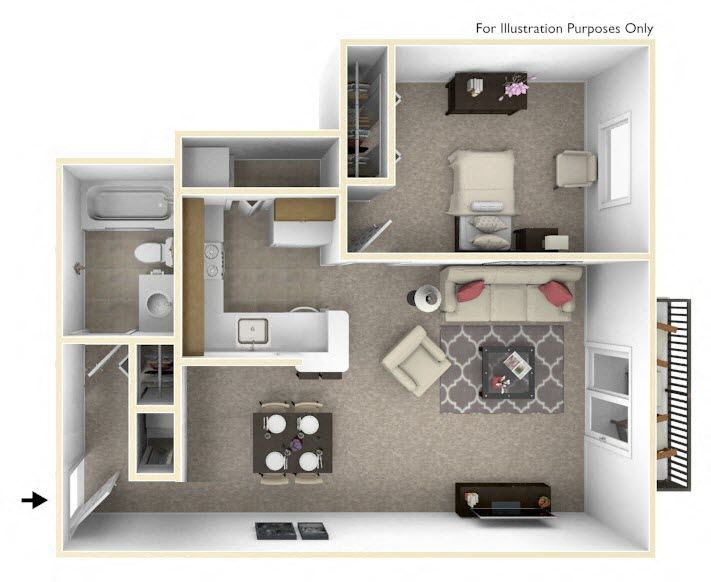 1-Bed/1-Bath, Allium Floor Plan at The Harbours Apartments, Clinton Twp